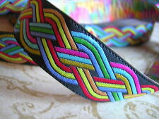 "Quality SCA Celtic Rainbow Jacquard Woven Ribbon Sewing trim 5 Y x 3/4"""
