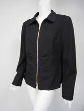 ESCADA Black Crepe Seamed Pucker Detail Zip Front Jacket Blazer D 44 US 14