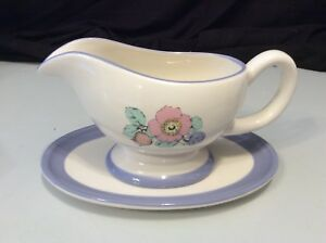 Holiday Home Gravy Boat Hand Painted CERAMIC Floral Flowers Pink Blue and Green