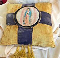"""Vintage Pillow VIRGIN MARY RELIGIOUS PRINT 15"""" SQUARE  Fringe Trim Velour Velvet"""