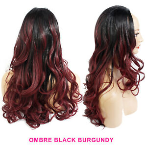 "Ladies 3/4 Half Wig Black/Burgundy Ombre Wavy 22"" Heat Resistant Synthetic Hair"