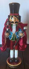 King Wooden Nutcracker Mini Red Velvet Cape Holiday Decor Glittered Royal