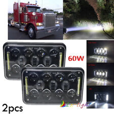 "Pair 4x6"" 120W LED Hi/Lo Beam Headlights For GMC Kenworth Peterbilt H4651 H4652"