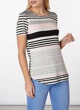 Dorothy Perkins Curve Hem T-shirt Top Size 20 UK Blush & Grey
