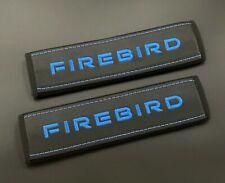 Pontiac Firebird Soft Seat Belt Shoulder Pads Covers Blue embroidery 2pcs