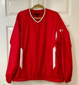UNDER ARMOUR ALLSEASONGEAR Wind Resistant Red V-Neck Pullover Golf Men's Large