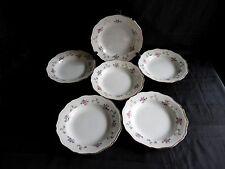 6 assiettes creuse,st amand l'amandinoise,motif floral et dorure