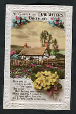 C1920s Birthday Card: Hatched Cottage & Flowers: To Greet My Daughter