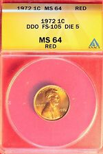 1972 Lincoln Cent- DDO-005 FS-105 Doubled Die Obverse Die 5 ANACS 64 RED
