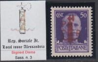 ITALY RSI (Social Rep) ALESSANDRIA Sassone n.3 SIGNED DIENA cv 1050$  MNH**