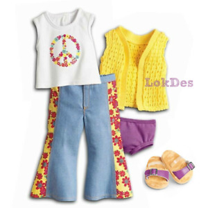 """American Girl Julie's Meet Outfit Tee Clogs Jeans 1970s Peace Outfit 18"""" Dolls"""