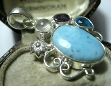 Solid Silver Jewellery Necklace Pendant Lovely Vintage Style Real Larimar Stone