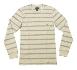 Polo Ralph Lauren Men's Oatmeal Stripe Waffle Knit Thermal Crew-Neck T-Shirt