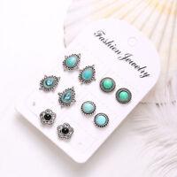 5Pairs/Set Vintage Boho Style Ear Stud Earrings Turquoise Women Jewelry Earrings