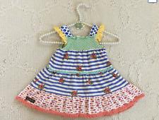 Matilda Jane Girl Dress Strips Floral Fish Print Sz: 18-24 Mos & Hair Clip