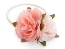 Pink Cream Double Flower Hairband Bobble