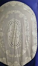 """Stunning Artistry 61"""" X 90"""" Oval Ivory/Cream Lace Tablecloth"""
