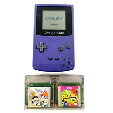 Nintendo Game Boy Color Grape Purple Handheld System w/ 2 Games New Lens Tested