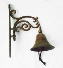 Bronze French Scroll Rustic Antique Solid Cast Iron Big Hanging Door Bell Decor