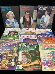 VINTAGE LOT OF 12 ASSORTED DECORATIVE PAINTING MAGAZINES, 1986-2006