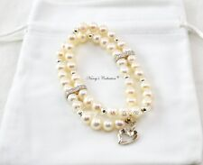 Sterling Silver 925 White Freshwater Pearls Two-layer Elastic Bracelet & Pendant