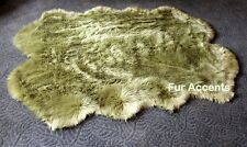FUR ACCENTS Olive Green Shaggy Sheepskin Area Rug Faux Fur Quatro Design 5' x 6'