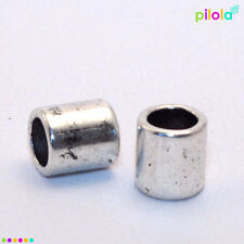 10 x smooth Tibetan style silver alloy bead, 9mm x 8mm 5mm hole