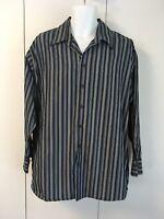 Kenneth Cole Reaction Men Shirt XL 17 33-33 Stripes Black & Blue Long Sleeve