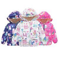Kids Baby Girls Winter Cartoon Coat Zipper Jacket Warm Outerwear Clothes Hooded