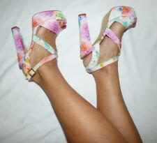 BETTS NEW FLORAL PLATFORMS 8 strappy HEEL pastel SHOE pump  BUY3+ITEM= FREE POST