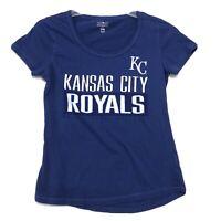 MLB Genuine Merchandise KC ROYALS Tee T Shirt Sz S Small Cap Sleeve Scoop Neck