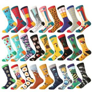 Mens Cotton Socks Novelty Colorful Fruit Animals Funny Casual Dress Wedding Sock