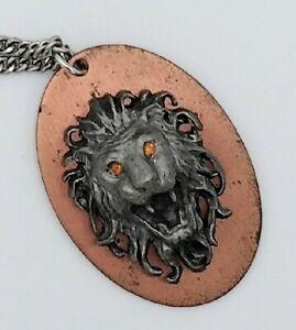 Vintage Jewelry Pendant Necklace Leo Lion's Head Plaque Handmade Copper Pewter?