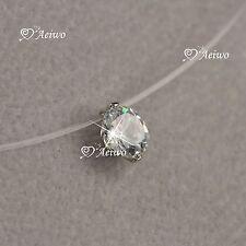 18k white gold brilliance cut Zirconia invisible necklace 6mm mini