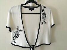 Quality Debenhams   Ivory & Black Embroidered Fine Knit  Short Sleeve Shrug  18