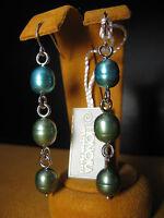 HONORA PEARL EARRINGS TEAL GREEN LONG SILVER CHAIN Gift