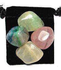 MANIFEST LOVE Tumbled Crystal Healing Set = 4 Stones + Pouch + Description Card