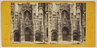 Rouen Cattedrale Foto Jules Valecke Stereo L53S1n21 Vintage Albumina c1865