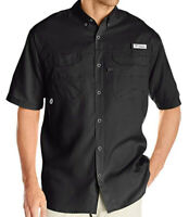 NEW COLUMBIA BLOOD AND GUTS SHORT SLEEVE WOVEN SHIRT BLACK