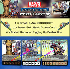 MARVEL DICE MASTERS ROCKET & GROOT OP KIT - Groot, Power Bolt, 4X Rocket Raccoon