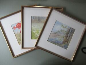 3 X Vintage Pretty Floral Poppies Spring Summer JEAN GOODWIN Prints Gilt Framed