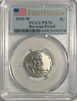 2020 W PCGS PR70 FIRST STRIKE REVERSE PROOF FIRST W MINT MARK JEFFERSON NICKEL