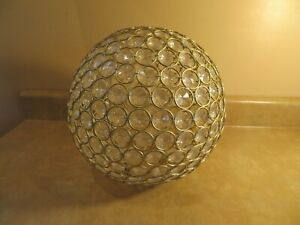 """Round Ball Faux Crystal Globe Light Shade 10"""" Soft Gold Tone Rings"""