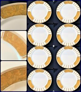 "KPM Porcelain Custom 1907 Set 8  Antique Gold Cherub Schley Design Plate 9-1/2"""