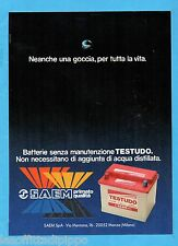QUATTROR988-PUBBLICITA'/ADVERTISING-1988- SAEM - BATTERIE AUTO TESTUDO