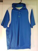 Oakley Mens M Golf Polo Blue Wicking Short Sleeve Medium Shirt Metal Button