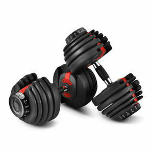 Two Heavy Duty 52.5lbs Steel Adjustable Fitness Dial Dumbbells For Home Gym