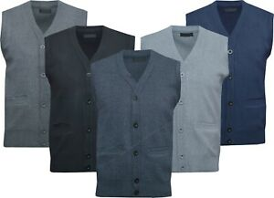 Mens V Neck Sleeveless Jumper Button Up Sweater Tank Top Cardigan Casual M - 2XL