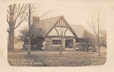 BRIMFIELD, MA ~ THE LIBRARY, BROWN REAL PHOTO PC ~ c. 1910-20