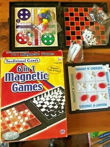 6 in 1 traditional magnetic games collection. Travel size.